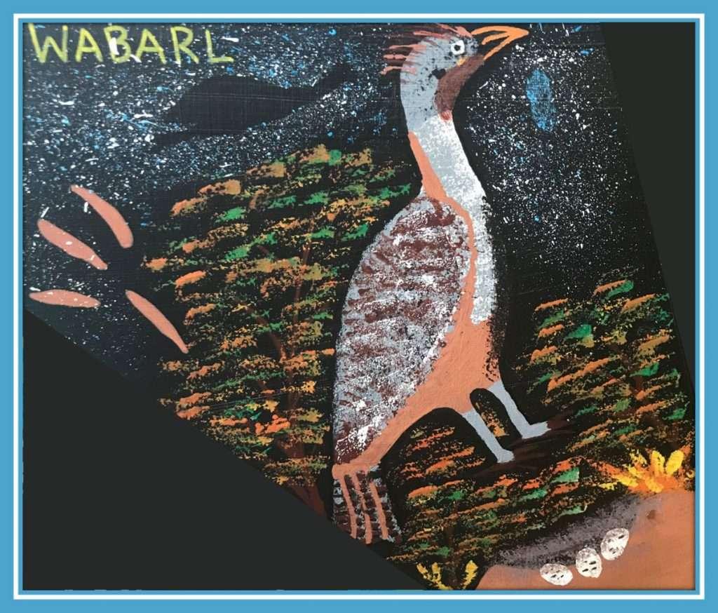 WABARL (BADIMIA LANGUAGE FOR MALLEEFOWL LEIPOA OCELLATA). ARTWORK BY TAYHA-MARIE WALLEY